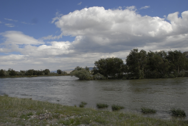 Khovd River.  The water is very high.