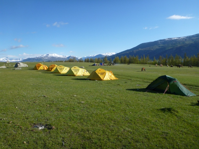 Camp 2.  Tusker tents and my little green Hilleberg.