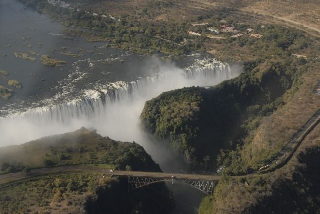 Victoria Falls and the bridge between Zambia and Zimbabway