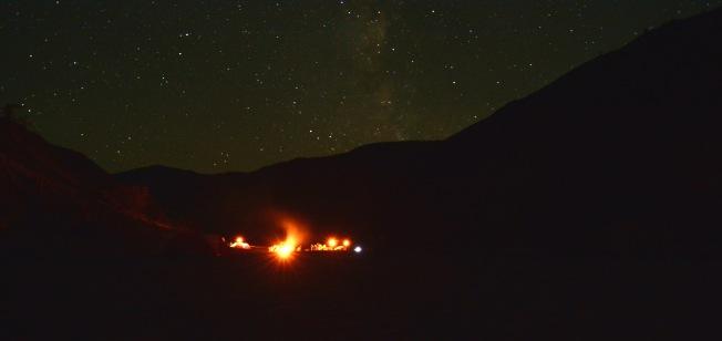 Starlight and campfire. NH