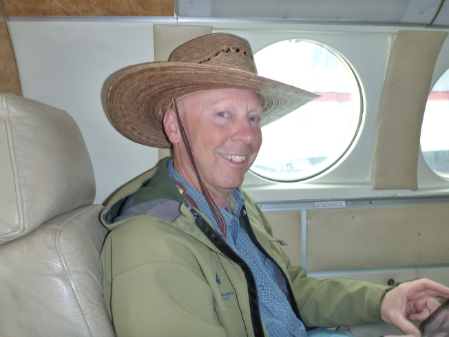 Neil on the plane.
