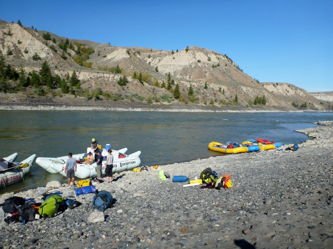 We leave our little oared rafts for the large powered ones.