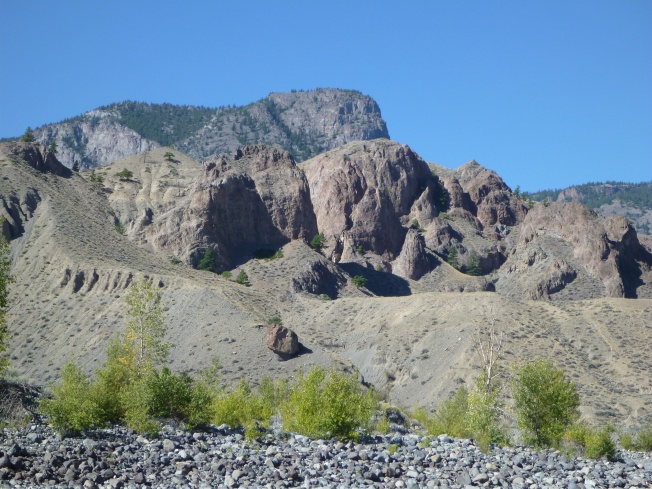 Sand, sage brush, rock and a bit of greenery.