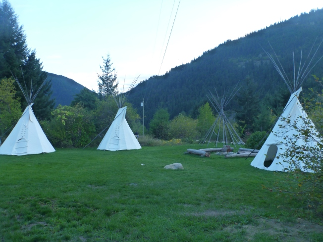 Teepee lodging. Slept on the grass. By now, I was tired of my tent.