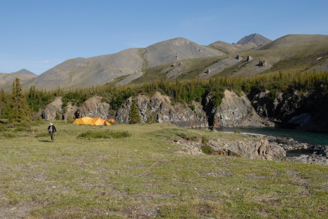 Camp at Wolf Tors. There are multiple levels to choose from, depending on how far you want to carry your gear.